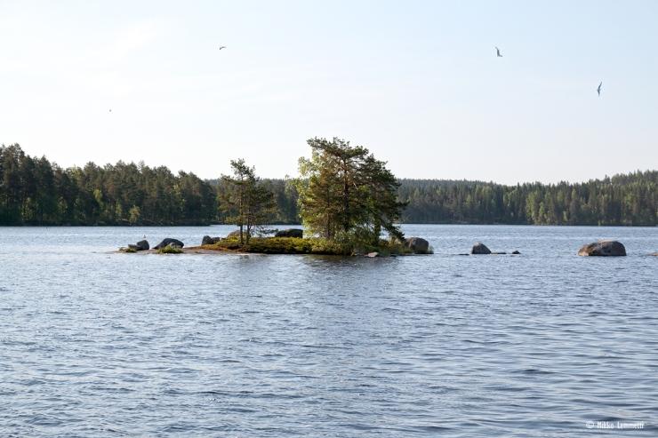 Pieniä saaria ja luotoja Konnevedessä riittää, ja niin riittää myös pieniä pinnanalaisia kareja, jotka voivat olla kokemattomalle veneilijälle turmiollisia.