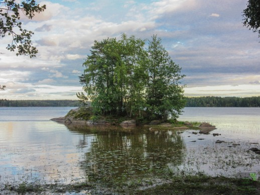 Pieni saari lähellä Puujärven rantaa. A small island close to the shore of Lake Puujärvi